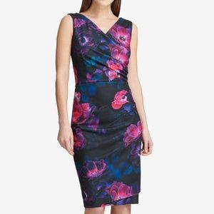 DKNY Floral Ruched Sleeveless Sheath Dress